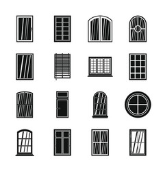 plastic window forms icons set simple style vector image