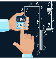 Playing music in Mp3 player hands vector image