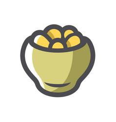 Potatoes in a pot icon cartoon vector