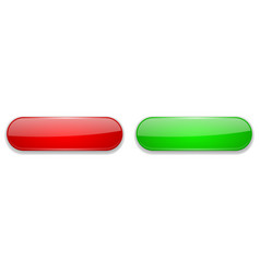 red and green glass buttons oval 3d shiny icons vector image