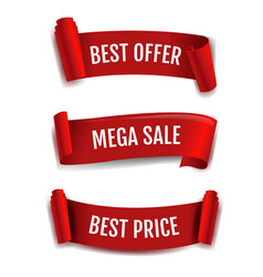 red ribbon sale banner isolated white background vector image