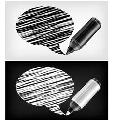 Scribbled speech shapes grayscale felt tip pen v vector