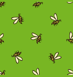 seamless pattern with flying bees vector image