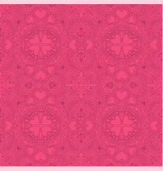 seamless pink linear pattern with hearts shapes vector image