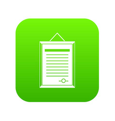 Sertificate icon digital green vector