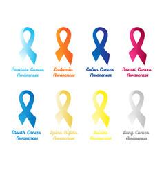 set awareness ribbons vector image
