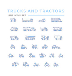 set color line icons trucks and tractors vector image