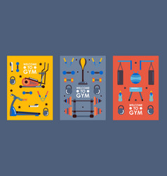 Set gym banners in flat style vector