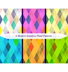 Set of six seamless modern plaid patterns vector image