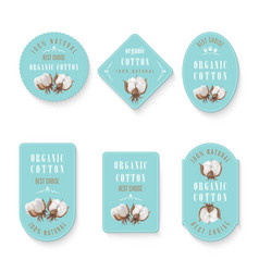 Set of tags and logo for cotton manufacture vector