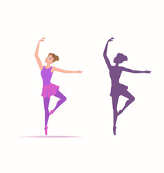 set of woman dancer and her silhouette on a white vector image