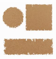 Set three kraft paper tamplates broun color vector