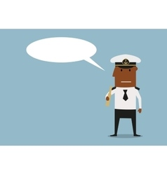 Ship captain with spyglass and speech bubble vector image