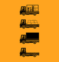 Silhouette small trucks with different loads vector