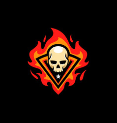 skull fire template vector image