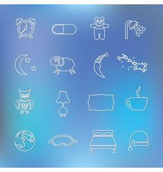 Sleep outline icons vector
