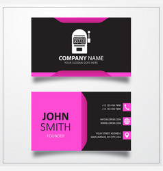 Slot machine icon business card template vector
