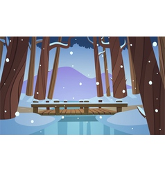 Small wooden bridge in the woods vector image
