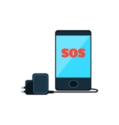 Smartphone with sos message on the screen and vector