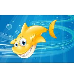 Smiling yellow shark vector