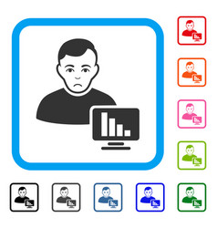 Stock trader framed sadly icon vector