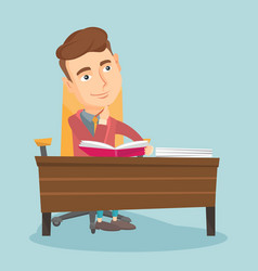 Student writing at desk vector