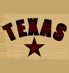 Texas on a wood grain background vector