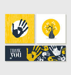 Thank you hand print card set for community help vector