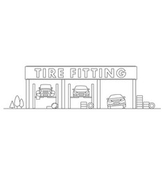 tire shop or fitting line with vector image