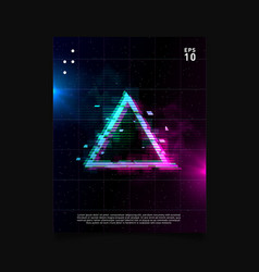 Triangle glitch effect in space laser grid with vector