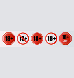 up to 18 not allowed sign older than 18 number vector image