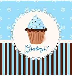 Vintage greetings card with cream cake vector
