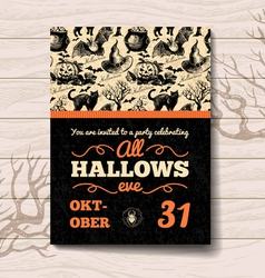 Vintage hand drawn halloween invitation vector