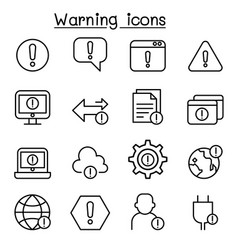 Warning caution danger icon set in thin line style vector