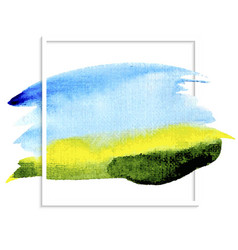 Watercolor background blue sky green field vector
