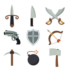 weapon gun ax bomb sword archer armor vector image