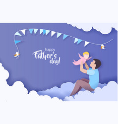 Young man with his baplaying paper cut style vector
