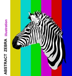 Zebra portrait on abstract bright strips vector image