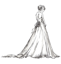 Bride Beautiful young girl in a wedding dress vector image