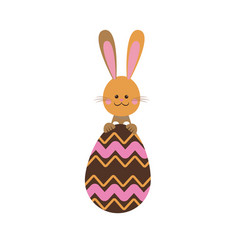 cute easter bunny egg funny design vector image