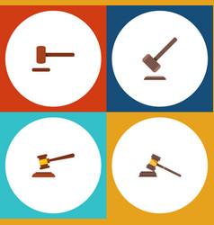 flat icon hammer set of tribunal defense court vector image vector image