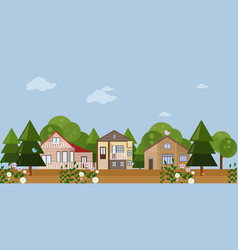 forrest wood houses facades background vector image