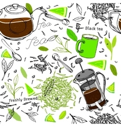Hand drawn seamless tea pattern vector image
