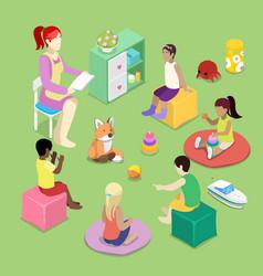 kindergarden interior with children isometric vector image vector image