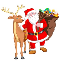 Santa and Reindeer with Gift vector image