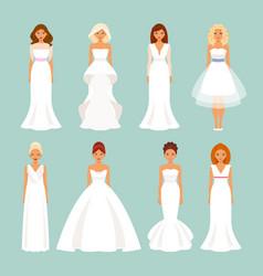 set of brides in wedding dresses vector image vector image