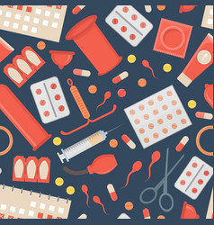 cartoon contraception method background pattern vector image
