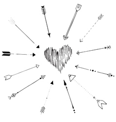 hand drawn arrow frame vector image
