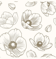 hellebore poppy floral brown beige pattern texture vector image vector image