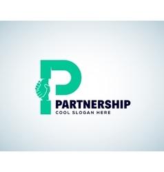 Partnership Abstract Logo Template Hand vector image